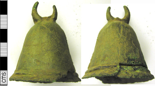 LVPL-EFD5D7: Cast copper alloy bell probably dating to the Medieval period, (1100-1500).