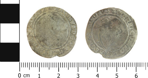 A resized image of Post medieval Irish shilling of James I