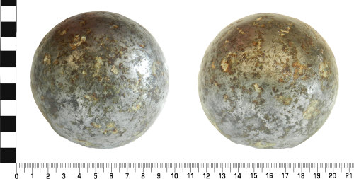 LVPL-C528F4: Post-medieval cannon ball