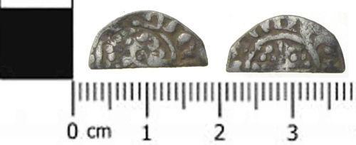 SWYOR-87F442: a medieval coin: a cut half penny of Henry III
