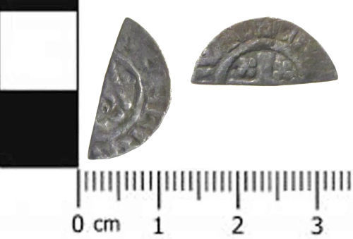 SWYOR-8886E5: a medieval coin: a cut half penny of Henry III