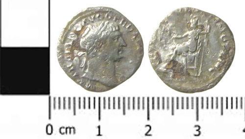 A resized image of a Roman coin: a denarius of Trajan