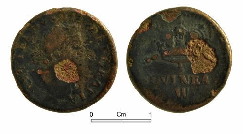 NMGW-DC2DCF: Post medieval coin weight: Half guinea of William III, the maker is possibly John Wade