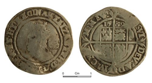 NMGW-04CFF5: Post medieval coin: Elizabeth I, sixpence, London