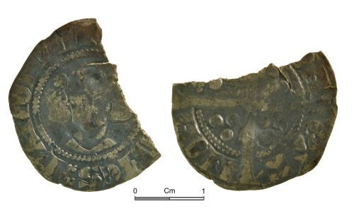 NMGW-5D2D6B: Medieval coin: John II of Avesnes, count of Hainaut and Holland, starling ('cockrel') Mons