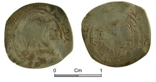 NMGW-5E9866: Post medieval coin: Charles I, half groat, London