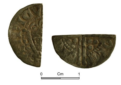 NMGW-82D7D1: Medieval coin: Henry III 'Long Cross' cut halfpenny, Class 5a