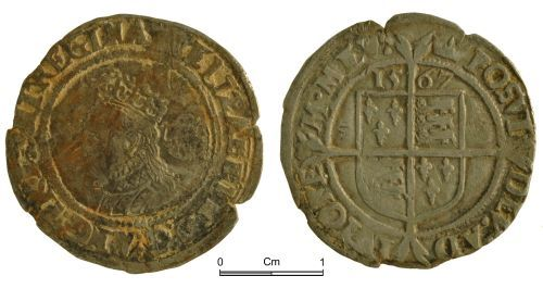 NMGW-BDEB99: Post Medieval Coin: Elizabeth I, sixpence, London
