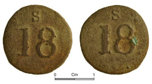 NMGW-BE098A: Post Medieval Coin weight: English brass coin weight for a Portuguese two-escudos or 'half-