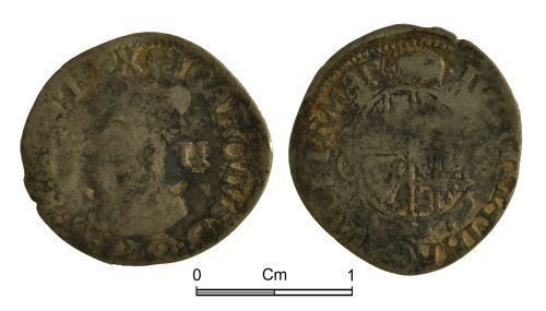 NMGW-06F002: Post medieval coin: Charles I, half groat, London