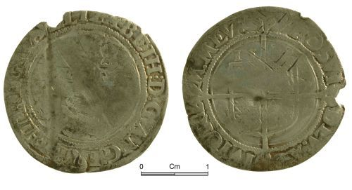 NMGW-65C013: Post Medieval Coin: Elizabeth I, sixpence, London