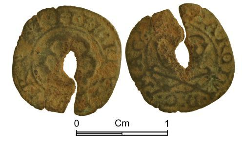 NMGW-6A40A4: Post Medieval Token: Farthing token in the name of Charles I