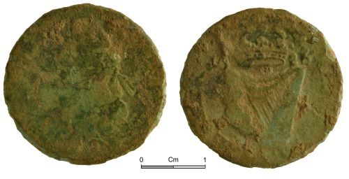 NMGW-7ACCED: Post Medieval Coin: Ireland, James II, halfpenny