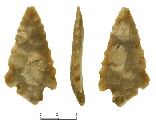 NMGW-7B449E: Early Broze Age flint arrowhead of Barbed and Tanged type