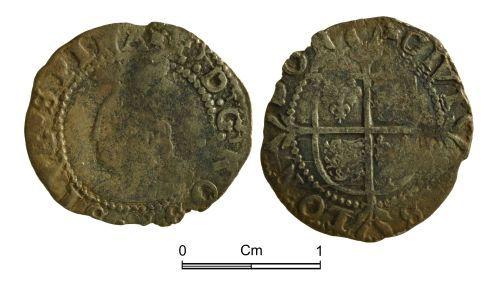 NMGW-7B731A: Post Medieval Coin: Elizabeth I, half groat, London