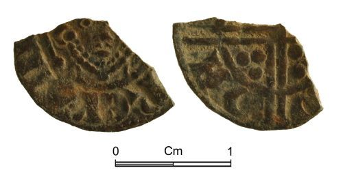 NMGW-7D1978: Medieval Coin: Fragment of a penny, Long Cross type of Henry III