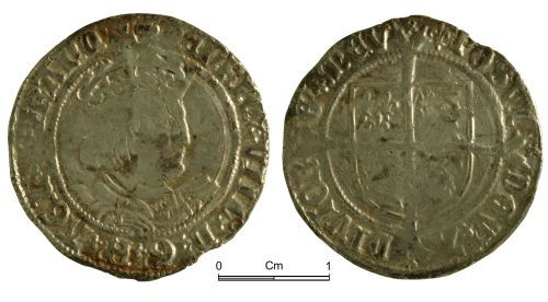 NMGW-54E663: Post Medieval Coin: Henry VIII, groat, London