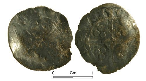 NMGW-D630F6: Medieval Coin: Possibly Edward III, penny, York, with quatrefoil centre