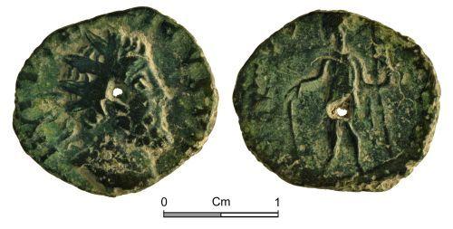 NMGW-E3C1B1: Roman Coin: Irregular radiate copying Tetricus I / VIRTVS AVGG