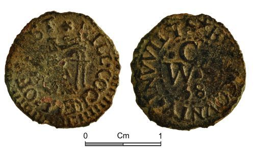 NMGW-903CB2: Post Medieval Token: Farthing token of Will Cockell, Westbury, Wiltshire