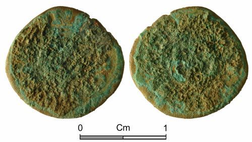 NMGW-CB3126: Post Medieval Token: Farthing token in the name of Charles I