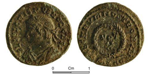 NMGW-A19E26: Roman Coin: Crispus, Caesar; nummus, Lyon