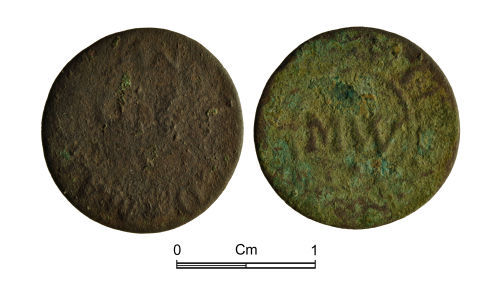 NMGW-5EF039: Post Medieval Coin: Farthing token of Mary Wingfield possibly of the Bear Tavern