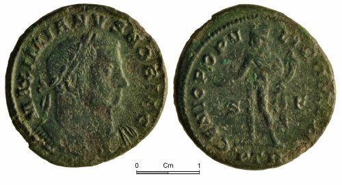 NMGW-33C609: Roman Coin: Galerius, Caesar; nummus, Trier