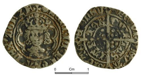 NMGW-12BEE3: Post Medieval Coin: Henry VII, half groat, Canterbury