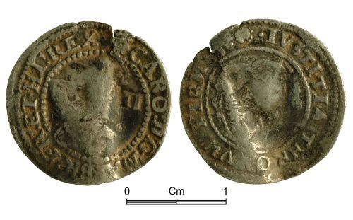NMGW-23B973: Post Medieval Coin: Charles I, half groat, London