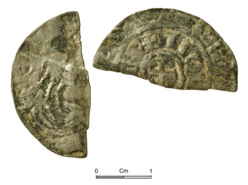 NMGW-47F325: Medieval Coin: Henry I, cut halfpenny