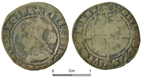 NMGW-F0713A: Post Medieval Coin: Elizabeth I, threepence, London