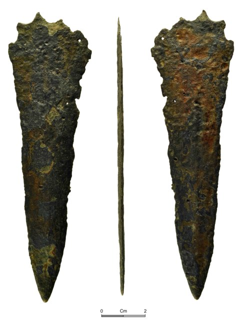 NMGW-F0B7C3: Middle Bronze Age blade, possibly a dirk of Group II or III blade with a damaged butt
