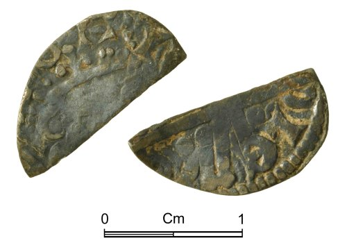 NMGW-F1CB56: Medieval Coin: Henry III 'Long Cross' cut halfpenny