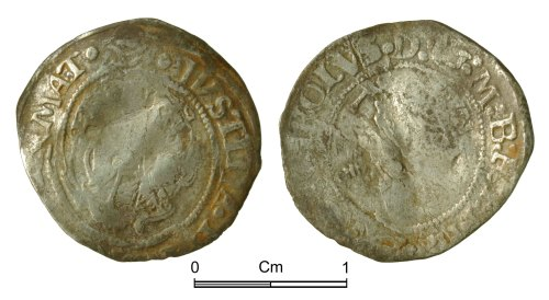 NMGW-F2CAD7: Post Medieval Coin: Charles I, half groat, London