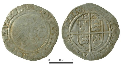 NMGW-052E33: Post Medieval Coin: Elizabeth I, sixpence, London