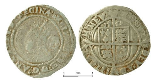 NMGW-0682B1: Post Medieval Coin: Elizabeth I, sixpence, London