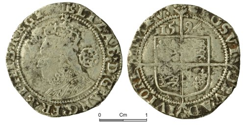 NMGW-069456: Post Medieval Coin: Elizabeth I, sixpence, London