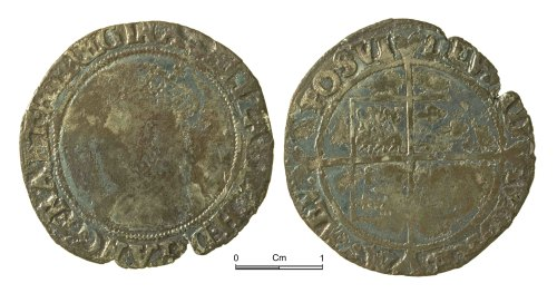 NMGW-06A5A9: Post Medieval Coin: Elizabeth I, shilling, London