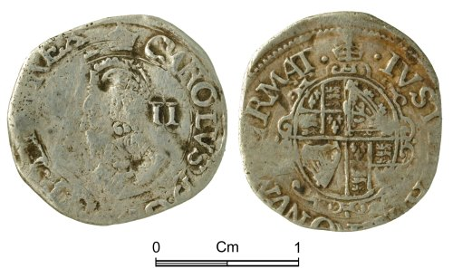 NMGW-47AE82: Post Medieval Coin: Charles I, half groat, London