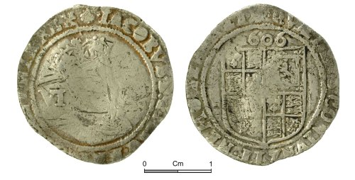 NMGW-5B624A: Post Medieval Coin: James I, sixpence, London
