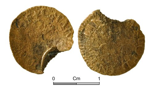 NMGW-73CC41: Post medieval penny token: Probably of Charles Huddle