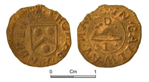 NMGW-6F6784: Post Medieval token of Thomas Andrews