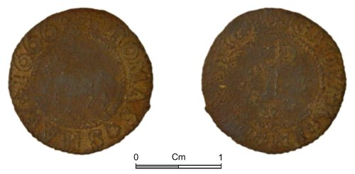 NMGW-846E9C: Post medieval token: penny token of Thomas Shaw