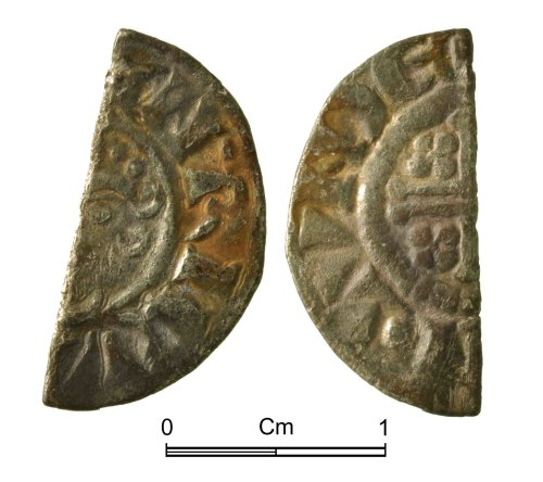 NMGW-228524: Medieval coin: Short Cross cut halfpenny; probably Class 6