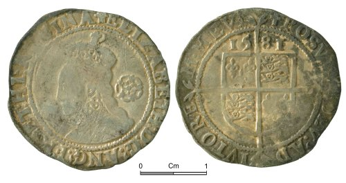 NMGW-22B859: Post Medieval Coin: Elizabeth I, sixpence, London