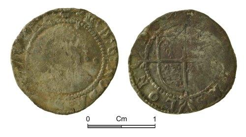 NMGW-255A09: Post Medieval Coin: Elizabeth I, half groat, London