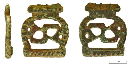 NMGW-A2EEDE: Belt or strap mount, possibly of late medieval date