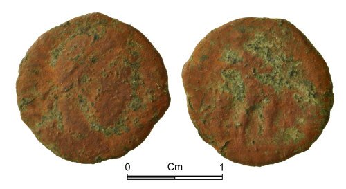 NMGW-993A24: Post medieval farthing token: James I