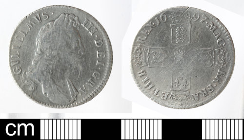 SOM-3D4DA9: Post-Medieval coin: Shilling of William III